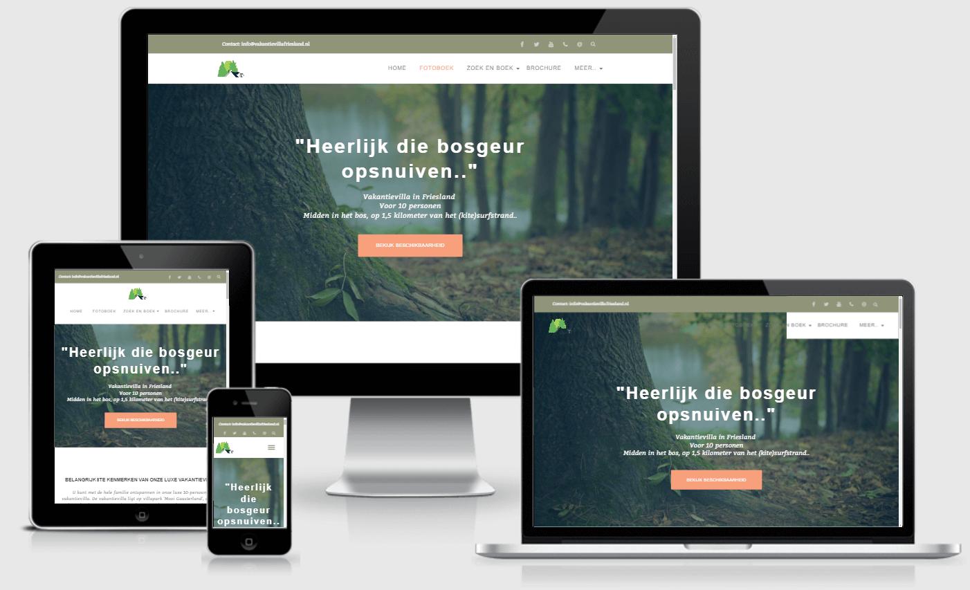 website voor bungalowpark